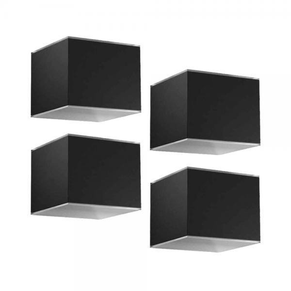 Solar wandlampen set zwart 4 stuks