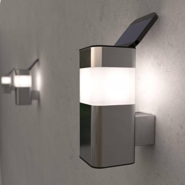 Solar wandlamp mini – chroom