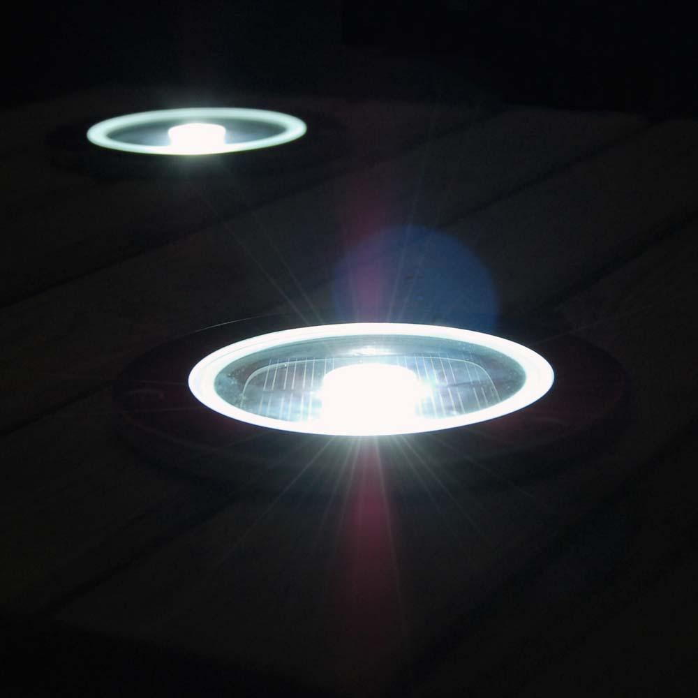 Solar grondspot LED rond chroom - Terrasverlichting - 1