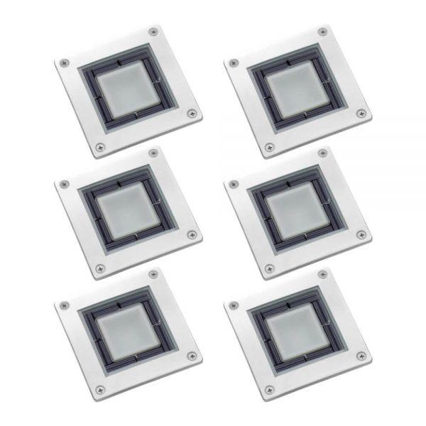 Solar grondspot LED vierkant RVS Terrasverlichting 6 stuks