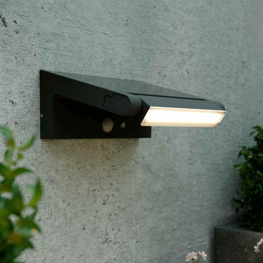 Solar wandlamp LED astron - Bewegingssensor - Verstelbaar (180°)