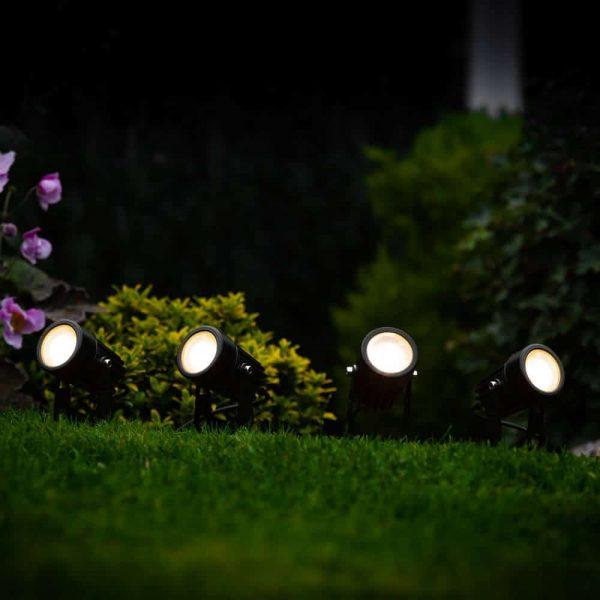 Tuinspots solar LED zwart - Tuinverlichting - set 4 stuks