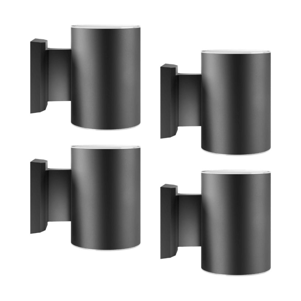 Solar wandlampen set rond zwart 4 stuks