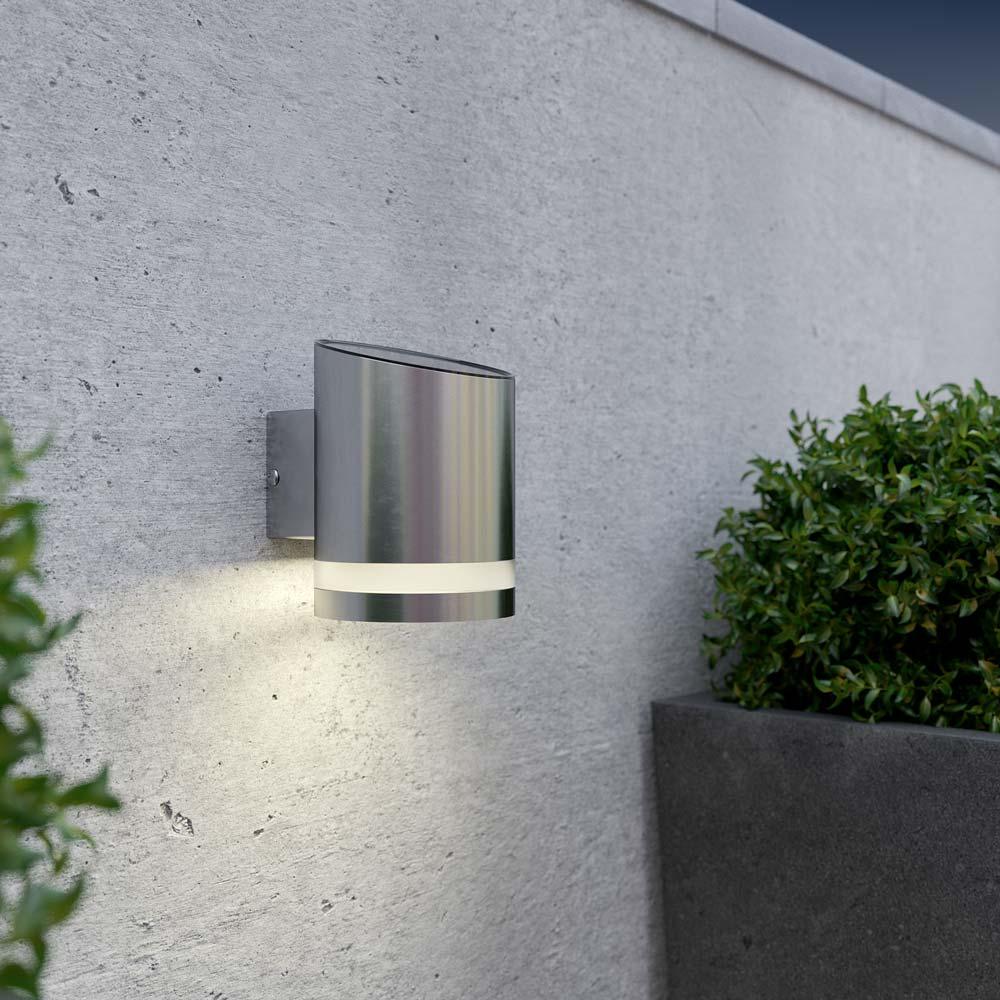 Solar wandlamp downlight rond – chroom