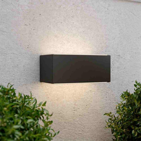 Solar wandlamp up downlight - XL - zwart