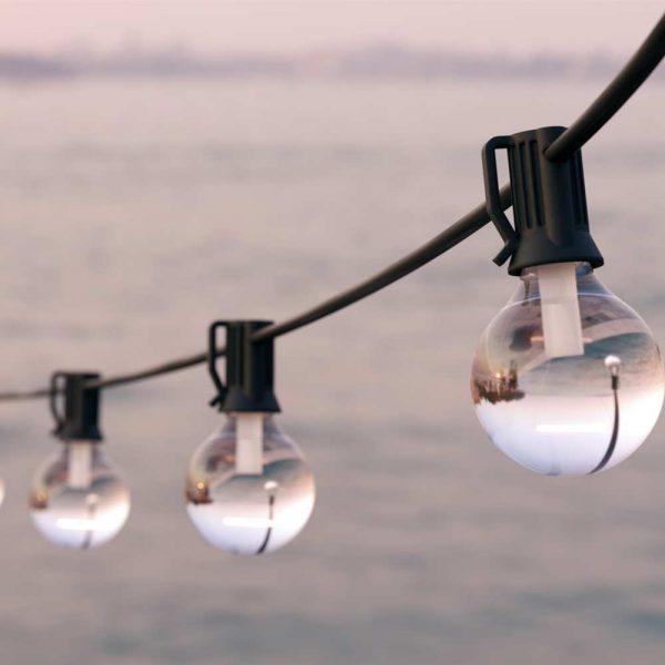 Solar lichtsnoer USB - G40 LED - 25 lampen